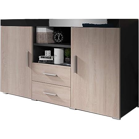 Muebles Bonitos   Buffet Moderne Roque   Longueur 140cm x Hauteur 80 cm x Largeur 40 cm   Meuble de Melamine Brillante   Couleur Noir et Sonoma