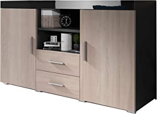 Muebles Bonitos | Buffet Moderne Roque | Longueur 140cm x Hauteur 80 cm x Largeur 40 cm | Meuble de Melamine Brillante | C...