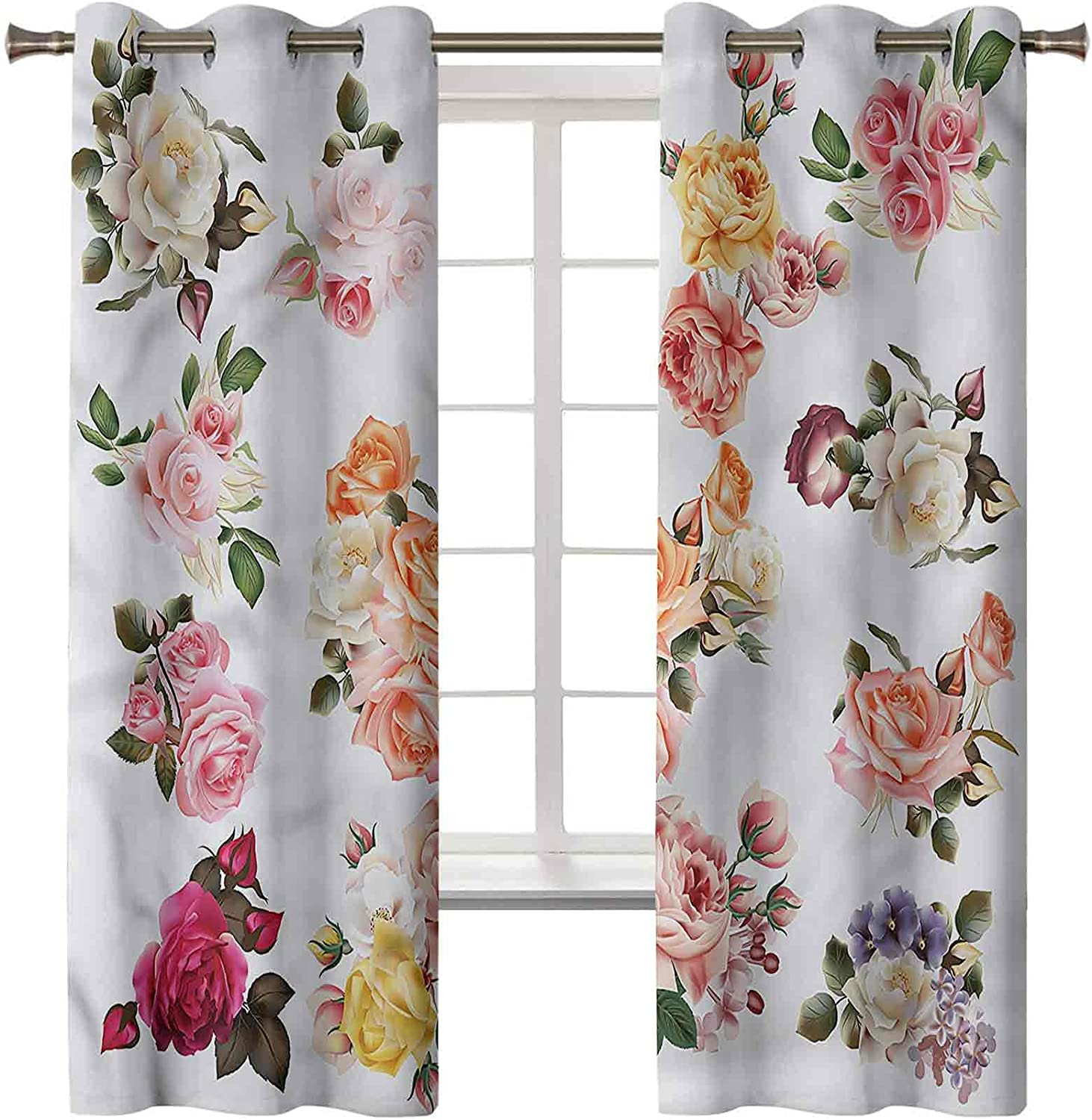Flower Curtains for Bedroom Set of 2 Panels 63L x Farm Easy-to-use 42W Ranking TOP7 Inch