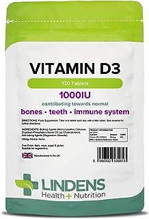 Lindens Vitamina D3 1000IU Tabletas 120 Pack Potente 500% Nrv Dosis Contribuye a Saludable Huesos. Dientes. Músculo & Inmune Función