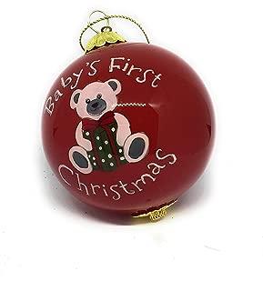 Pier 1 Li Bien Hand Blown Glass Ball Christmas Tree Ornament Baby's First Christmas 2018