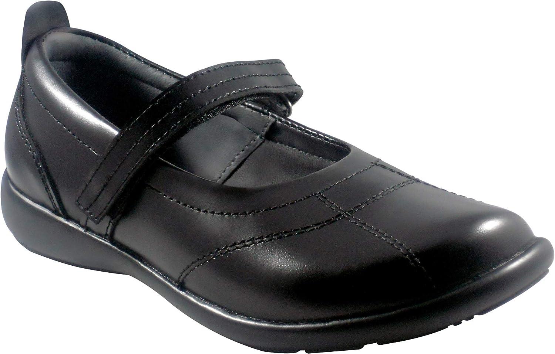 BOBBLEKIDS Big Girls Black Soft Leather Shoes, Cristina