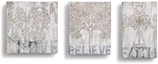 DEMDACO Love Believe Faith Classic White 8 x 8 Wood Composite Wall Art Sign Set of 3