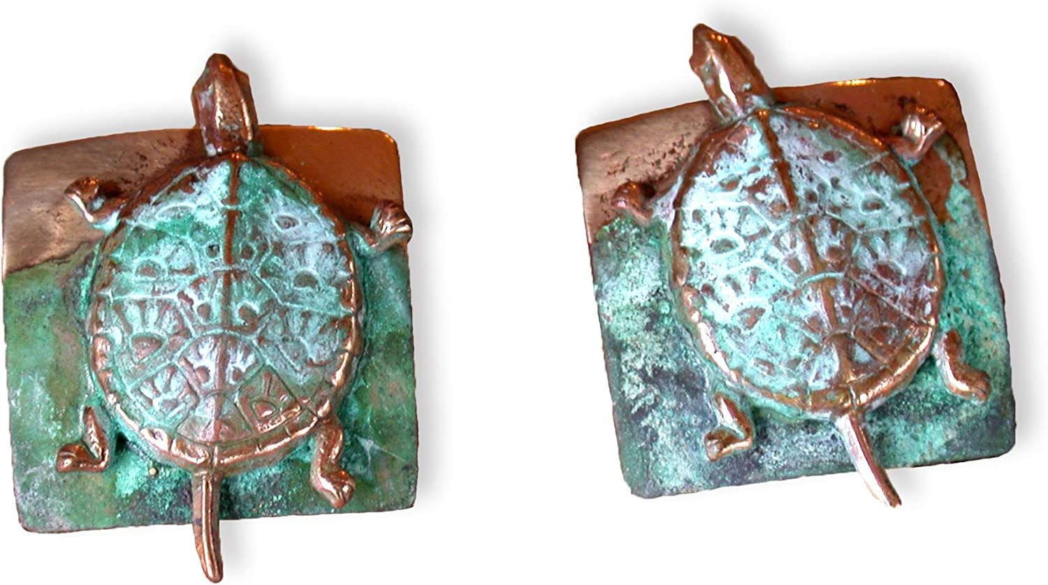 Verdigris Patina Solid Brass Etched Store Turtle Earrings 35% OFF Box