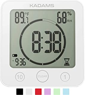 KADAMS Digital Bathroom Shower Kitchen Clock Timer with Alarm, Waterproof for Water..