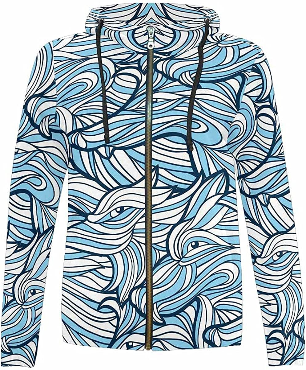 Sale special free price InterestPrint Abstract Patterns Full Zip Hoodie Jackets Hooded S