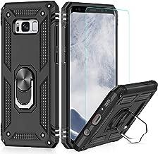 LeYi Custodia Galaxy S8 Cover, 360° Girevole Regolabile Ring Armor Bumper TPU Case Magnetica Supporto Smartphone Silicone Custodie con HD Pellicola per Samsung Galaxy S8 Case Nero