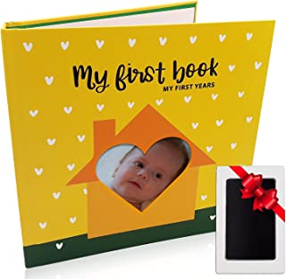 First 5 Years Baby Memory Book- Baby Journal with Keepsake Pocket Clear Touch Ink Pad for Baby Footprint and Handprint Frame Set - Baby Scrap Book Album - Baby Memory Books Baby Shower Gift Set