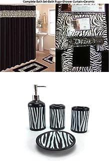 AHF/WPM 19 Piece Bath Accessory Set Black Zebra Animal Print Bath Rug Set + Black Zebra Shower Curtain & Accessories