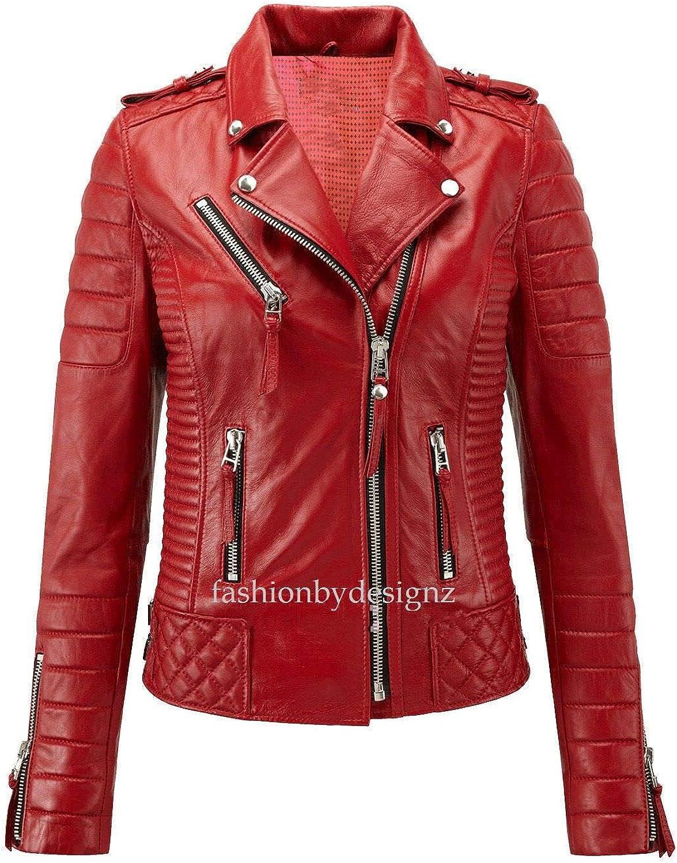 Alishbah Women's Leather Jacket Stylish Motorcycle Biker Genuine Lambskin WJ 290