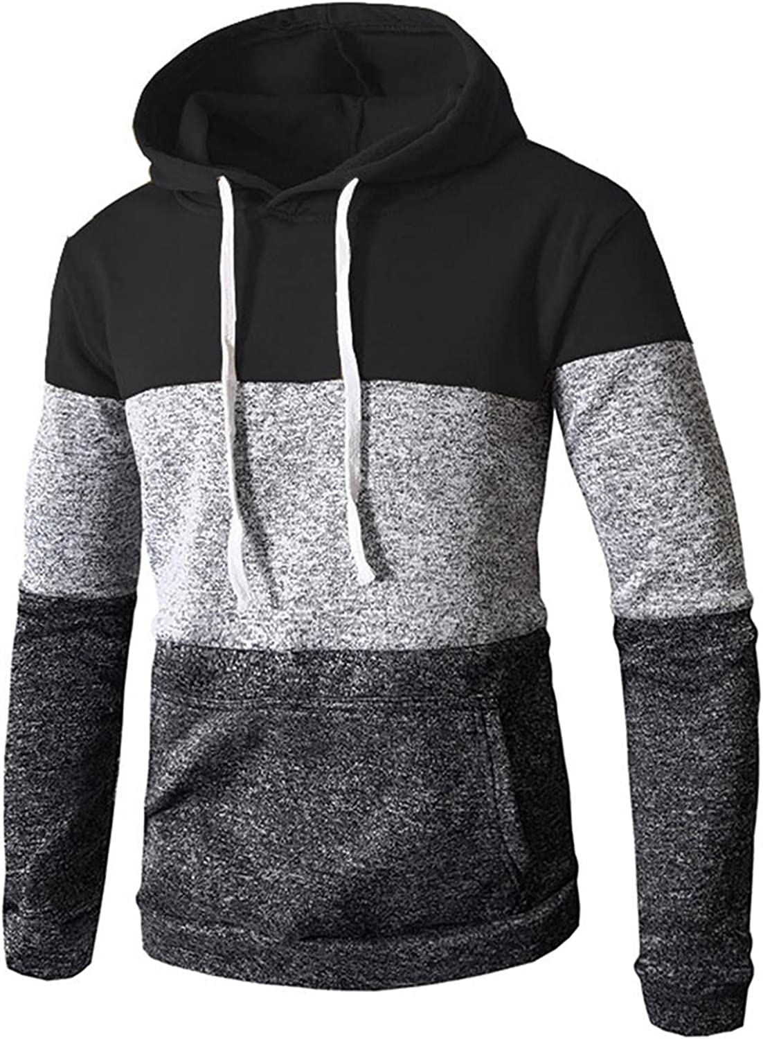 Men's Hoodies Pullover, Men's Hipster Hip Hop Hoodie Spliced Colorblock Casual Long Sleeve Warm Sweat Shirts Pockets