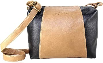 Fargo Motley PU Leather Women's & Girl's Cross Body Side Sling Bag (Beige,Black_FGO-212)