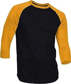 Dream USA Men's Casual 3/4 Sleeve Baseball Tshirt Raglan Jersey Shirt Black/Gold 3XL