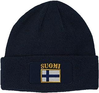 d1b7b98f37f Speedy Pros Suomi Flag Embroidered Unisex Adult Acrylic Patch Beanie Warm  Hat