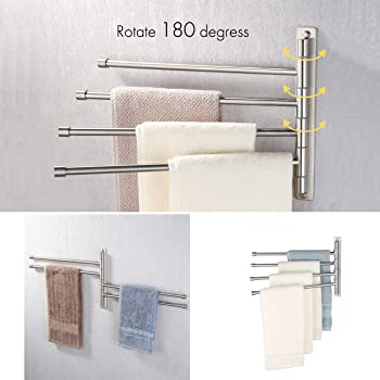 KES Swivel Towel Bar SUS 304 Stainless Steel 4-Arm Bathroom Swing Hanger Towel Rack Holder Storage Organizer Space Sa...