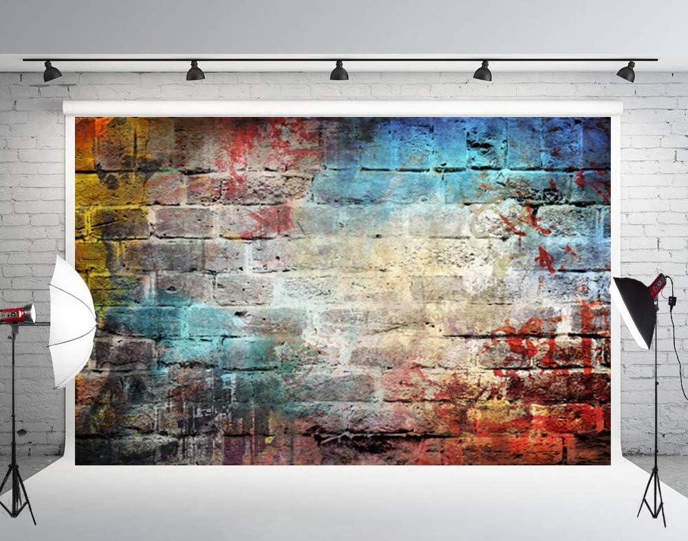 Muzi 5x5ft Photography Backdrop Paper Colorful Graffiti Brick Wall Backdrops for Studio Prop Art Fabric Photo Background