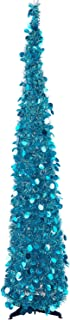 MACTING 5ft Pop up Christmas Tinsel Tree with Stand Easy-Assembly Tinsel Coastal Glittery Christmas Tree for Holiday Xmas Decorations (Blue)