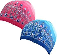 Polbeanies, Lycra Designer Swim Caps, 2 Pack, Tiara in Princess Pink, Tiara in Crystal Blue