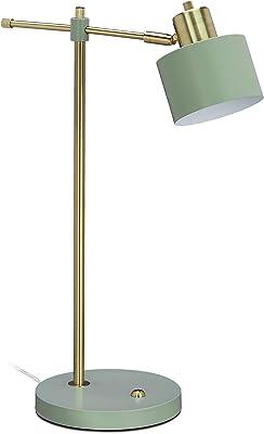relaxdays 10034201 Lampe métallique pour table de travail, abat-jour inclinable, de bureau, E27, dorée,verte, fer, 1 élément