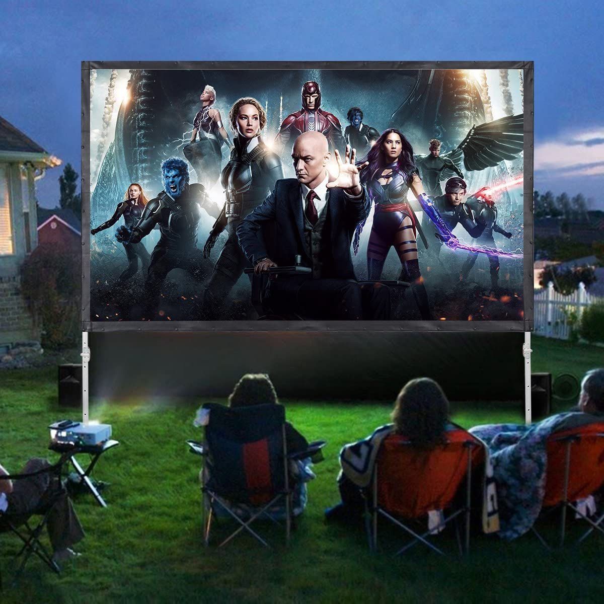 PVC Projector Screen with Stand WASJOYE 4 Layers 100 inch 16:9 HD 4K Outdoor Indoor Portable Rear Front Projection Movie Screen for Home Theater Backyard Movie with Carrying Bag