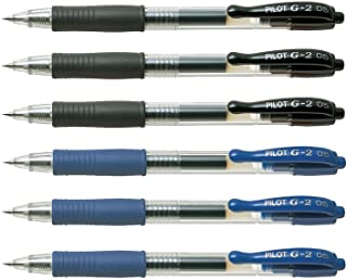Pilot G2 pens retractable Gel Roller ballpoint Extra Fine 05 pt Black & Blue Bundle, (Pack of 6)