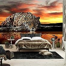 Murales De Pared 4D Papel Pintado,Creativa Moderna Sunset Sky Hd Animal Leopardo En Seda De Impresión Fotográfica De Gran ...