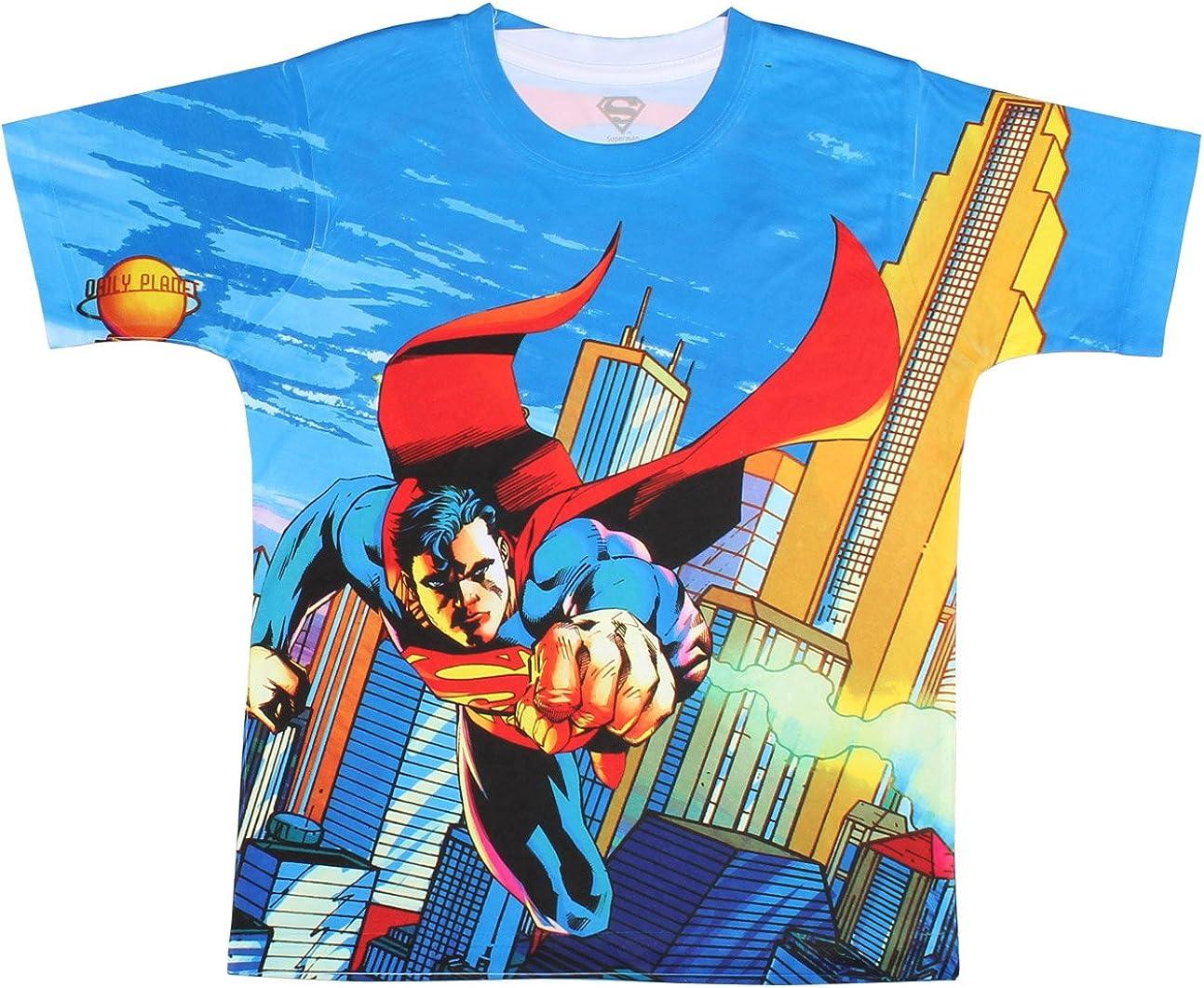 Superman Allover Print Logo Boys T-Shirt-(6/7)