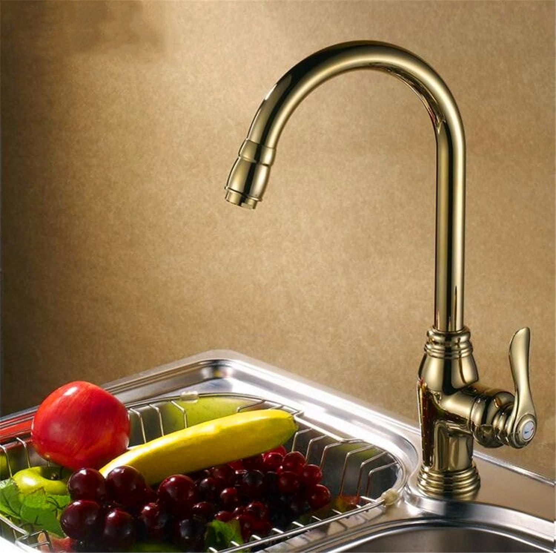 JMQXL European-style gold-plated kitchen faucet sink faucet copper