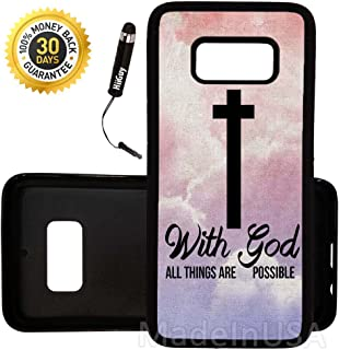 Custom Galaxy S8 Case (God Cross Religious Quote) Edge-to-Edge Rubber Black Cover Ultra Slim   Lightweight   by Innosub