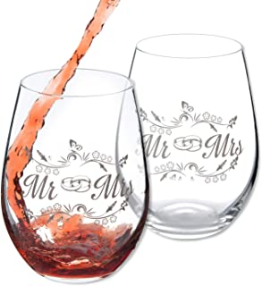 Mr and Mrs Stemless Wine Glasses 20 Oz,Set of 2, Ideal for Red and White Wine, Juice, Water, Perfect Wedding Gifts, Anniversary or Couple Gifts.