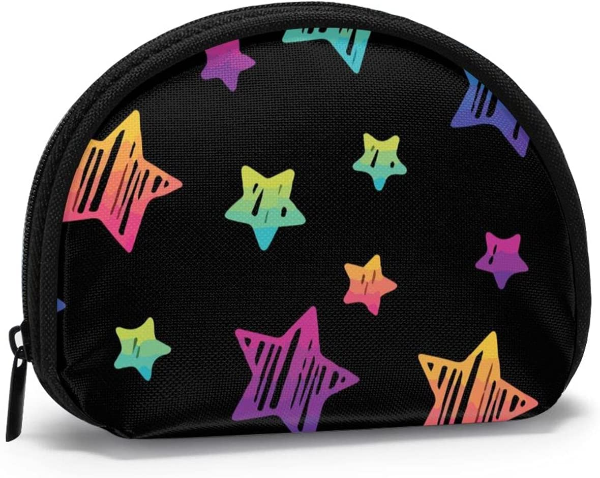 Women Change Coin Purse NEW before selling Neon Gradient Star Shell St Pattern Girl Super popular specialty store