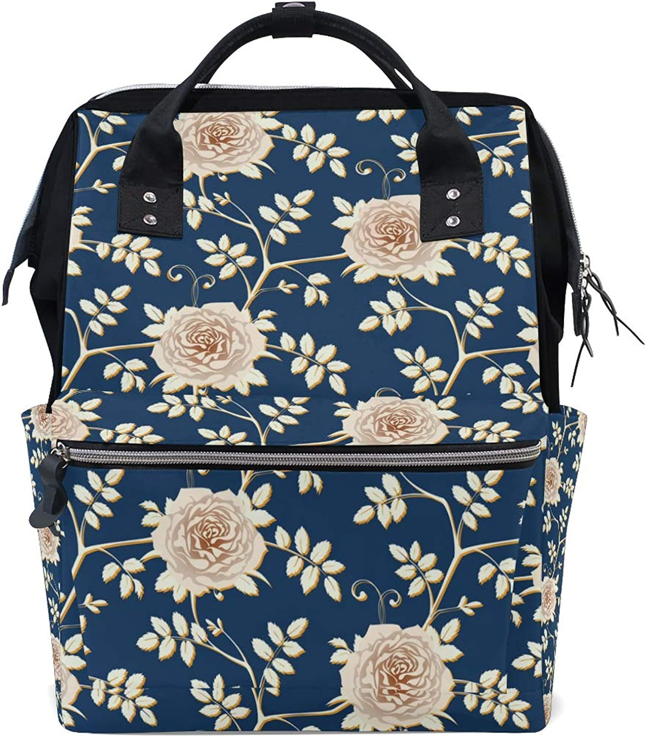 ColourLife Diaper bag Backpack Flora pinks On Dark bluee Tote Bag Casual Daypack Multifunctional Nappy Bags