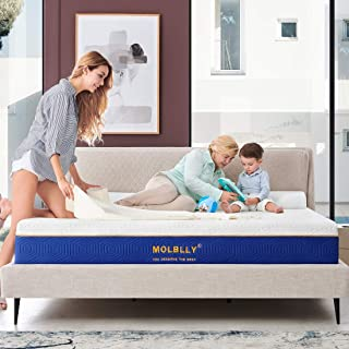 Queen Size Mattress, 12 Inch Molblly Cooling-Gel Memory Foam Mattress Bed in a Box, Cool Queen Bed Supportive & Pressure Relief with Breathable Soft Fabric Cover, Premium