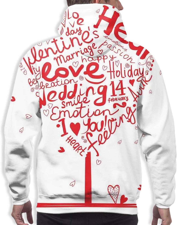 TENJONE Men's Hoodies Sweatshirts,Heart Shape Happiness Tree Romantic Holiday Celebration of Beauty Passion Emotion