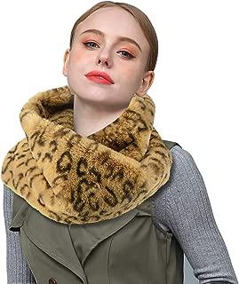 Homelex Faux Fur Neck Winter Warmer Leopard Print Infinity Scarf For Women