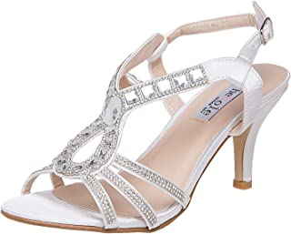 Women's Strappy Heels Dress Sandals Rhinestone Prom Party Evening Wedding Shoes
