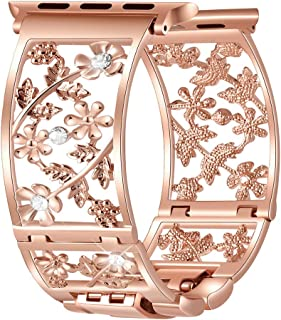 Duoan Floral Band Compatible with Apple Watch Band 38mm 40mm 42mm 44mm iWatch Bands Series 4 3 2 1, Bling Crystal Bracelet Hollow Metal Cuff, Dressy Women Girls Jewelry Wristband (42mm/44mm Rose Gold)