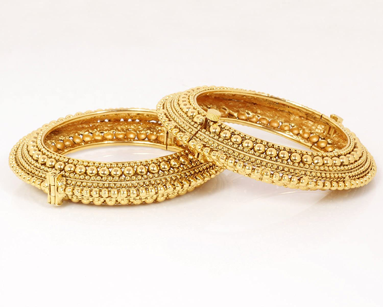Ratna creation SANARA Indian Bollywood Ethnic Gold Plated Gold Bridal Polki Bangles Set for Women Wedding Jewelry