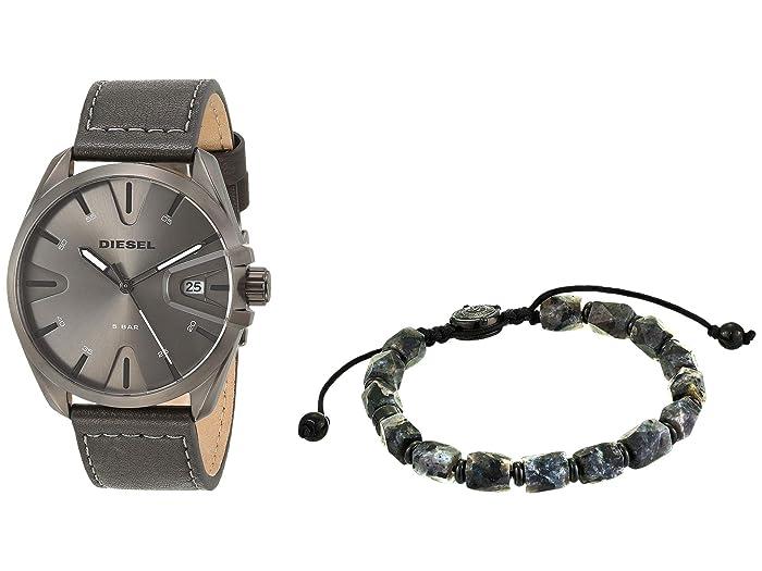 Diesel  MS9 Three-Hand Leather Watch (Black) Watches