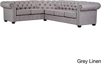 Inspire Q Knightsbridge Tufted Scroll Arm Csterfield 6-seat L-Shaped Sectional by Artisan Grey