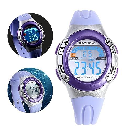 NICERIO PASNEW PSE-226 impermeables niños chicos chicas LED Digital deportes reloj con alarma de