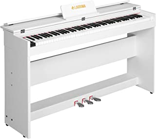 $324 Get LAGRIMA Digital Piano, 88 Key Electric Keyboard Piano for Beginner W/Music Stand+Power Adapter+3-Pedal Board+Instruction Book+Headphone Jack(White Only Piano)