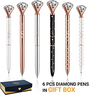 Set of 6 PCS Big Crystal Diamond Pens in Gift Box - Rose Gold Silver White Fancy Cute Fun Bling Top Ballpoint Writing Pen, Blue & Black Ink - Bulk School Desk Office Supplies for Women Girls Coworkers
