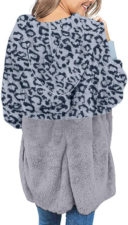 iHENGH Damen Warm bequem Herbst Winter Lässig Stilvoll Jacke Mantel Oversized Open Front Kapuzen Drapierte Taschen Cardigan Blau-1