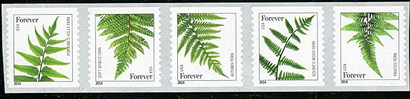 2014 Ferns Strip of Five Coil Forever Postage Stamps Scott 4874-78 By USPS