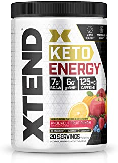 Xtend Keto Energy | The Perfect Keto & BCAA Powder Knockout Fruit Punch | 125mg Caffeine + Sugar Free Bhb Exogenous Ketone...