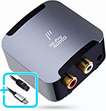 HiProAUDIO Digital to Analog Audio Converter-192kHz 24bit Aluminum Optical to RCA Digital SPDIF TOSLINK to Stereo L/R and 3.5mm AUX Jack DAC Converter for PS4 Xbox HDTV DVD AV Amps