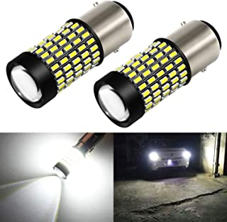 Phinlion 1157 LED White Bulb 2800 Lumens Super Bright 3014 103SMD BAY15D 2057 7528 1157 LED Bulbs with Projector for Back Up Reverse DRL Brake Stop Tail Lights, 6000K Xenon White