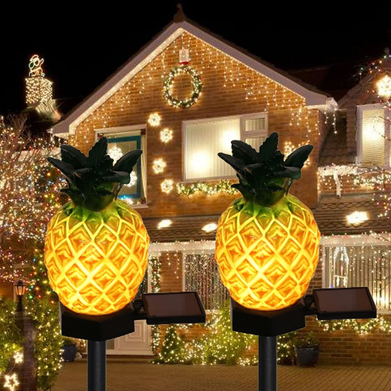 2 Pack Solar Pineapple-Shaped Lights Patio Yard Garden Decor Stake Decorative LED Light Waterproof,Solar Night Landscape Lights.Landscape Lights Pathway Yard Lawn Walkway Decoration