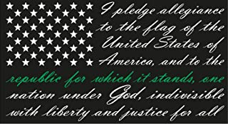 Firehouse Graphics American Flag Pledge of Allegiance Vinyl Truck Window Sticker Decal air Force Thin Green line, Military, Marine Corp, Army, Navy